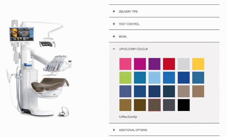 Konfiguratormuligheder af tandlæge unit hos Planmeca