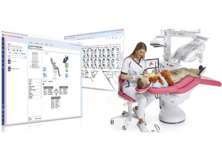 En tandlæge sidder ved en dentalunit i gang med en behandling og to digitale screenshots af forskellige måle og management vinduer fra Rmoexis Clinic Mangement it softwaren